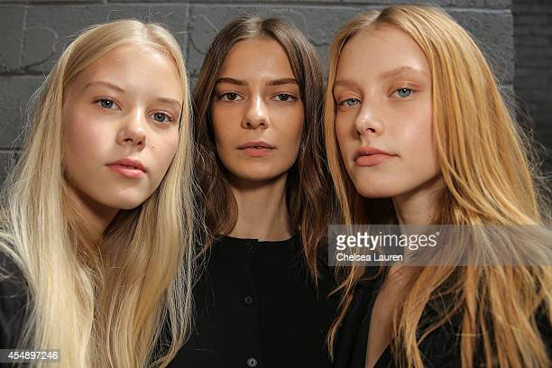 Models pose backstage at the Yigal Azrouel fashion show on September 7 2014 in New York City