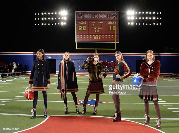 Models pose backstage at Tommy Hilfiger Women's Collection during MercedesBenz Fashion Week Fall 2015 at Park Avenue Armory on February 16 2015 in...