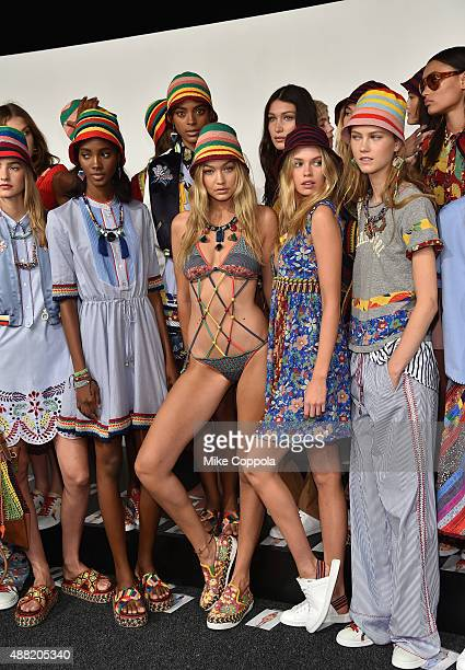 Models pose backstage at Tommy Hilfiger Women's Spring 2016 during New York Fashion Week The Shows at Pier 36 on September 14 2015 in New York City