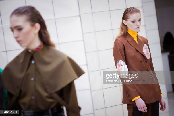 Models pose backstage before the Aalto show as part of the Paris Fashion Week Womenswear Fall/Winter 2017/2018 on February 28 2017 in Paris France
