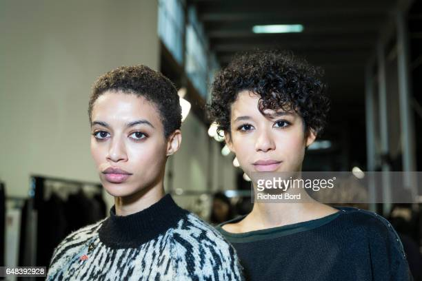 Models pose backstage before the Akris show at Palais de Tokyo as part of the Paris Fashion Week Womenswear Fall/Winter 2017/2018 on March 5 2017 in...