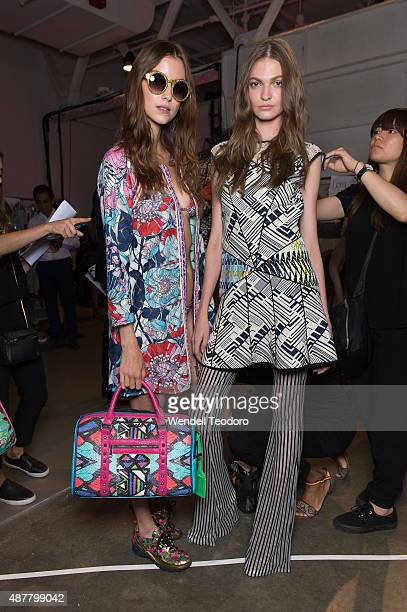 Models pose backstage before the Custo Barcelona show during Spring 2016 New York Fashion Week The Shows at Pier 59 Studios on September 11 2015 in...