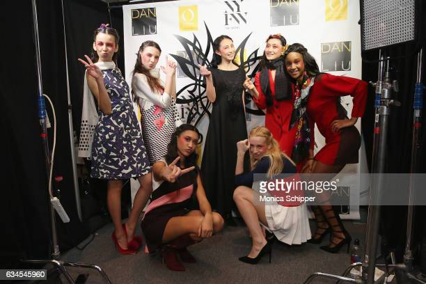 Models pose backstage before the Dan Liu Collection during New York Fashion Week The Shows at Gallery 3 Skylight Clarkson Sq on February 10 2017 in...