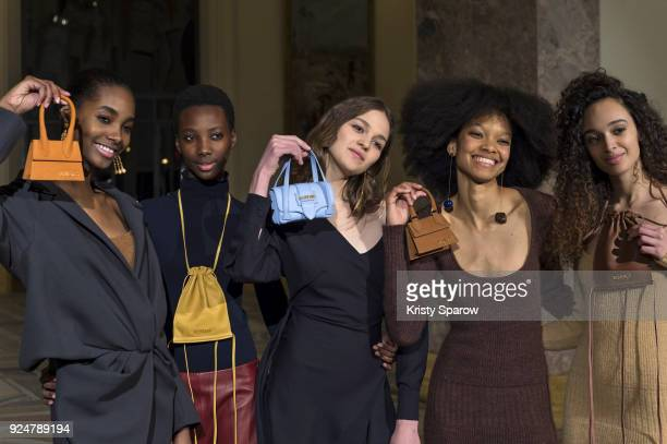 Models pose backstage before the Jacquemus show as part of Paris Fashion Week Womenswear Fall/Winter 2018/2019 on February 26 2018 in Paris France