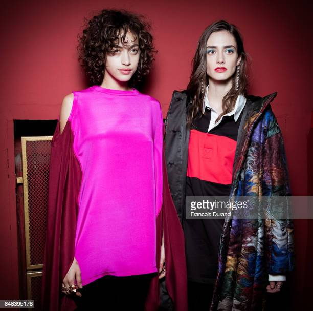 Models pose backstage before the Koche show as part of the Paris Fashion Week Womenswear Fall/Winter 2017/2018 on February 28, 2017 in Paris, France.