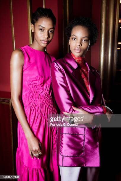 Models pose backstage before the Koche show as part of the Paris Fashion Week Womenswear Fall/Winter 2017/2018 on February 28 2017 in Paris France