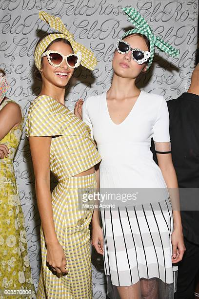 Models pose backstage before the Lela Rose fashion show during New York Fashion Week September 2016 on September 12 2016 in New York City