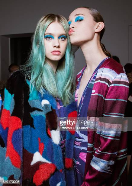 Models pose backstage before the Leonard Paris show as part of the Paris Fashion Week Womenswear Fall/Winter 2017/2018 on March 6 2017 in Paris France