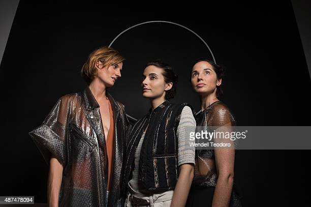 Models pose backstage before the Rachel Comey show at Pioneer Works on September 9 2015 in the Brooklyn borough of New York City