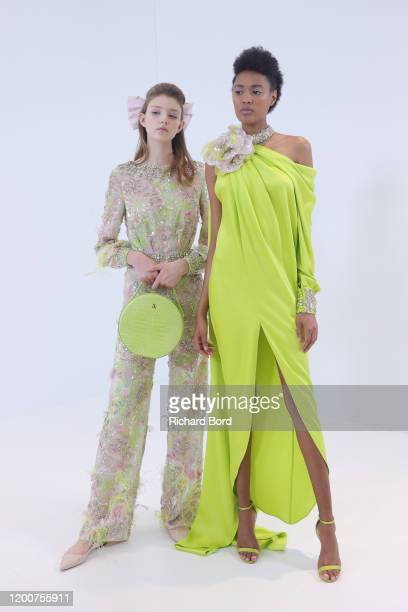 Models pose backstage before the Ralph Russo Haute Couture Spring/Summer 2020 show as part of Paris Fashion Week on January 20 2020 in Paris France
