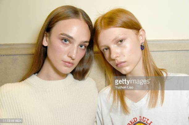 Models pose backstage before the Staud runway show with makeup by Maybelline during New York Fashion Week: The Shows at Spring Studios on September...