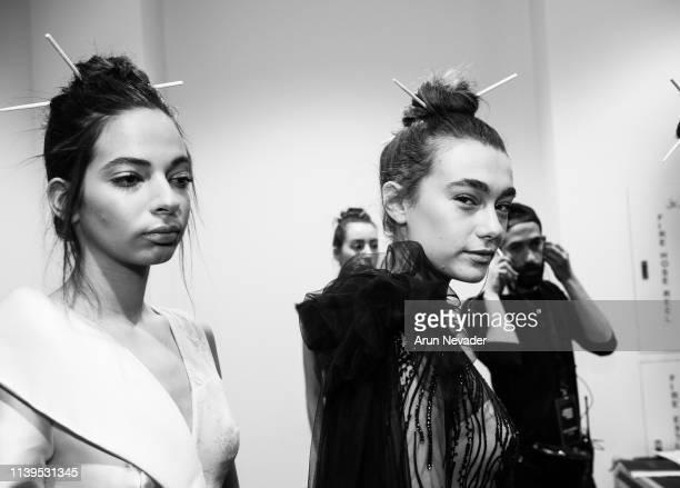 Models pose backstage during Jordan Fashion Week 019 at the Kempinski Amman on March 30 2019 in Amman Jordan