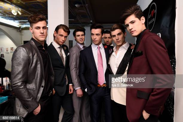 Models pose backstage during New York Fashion Week Art Hearts Fashion NYFW FW/17 at The Angel Orensanz Foundation on February 13, 2017 in New York...