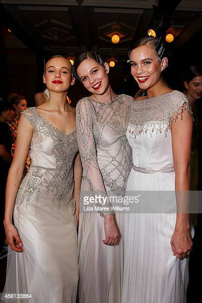 Models pose backstage during the Red Carpet runway show at MercedesBenz Fashion Festival Sydney at Sydney Town Hall on September 26 2014 in Sydney...