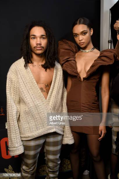 Models pose backstage for Laquan Smith fashion show during New York Fashion Week The Shows at Gallery II at Spring Studios on February 10 2019 in New...