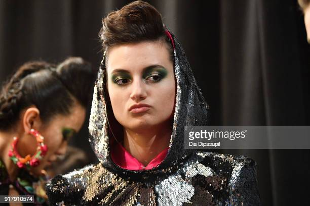 Models pose backstage for Naeem Khan during New York Fashion Week The Shows at Gallery I at Spring Studios on February 13 2018 in New York City