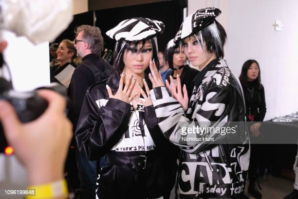 Models pose backstage for the Jeremy Scott fashion show during New York Fashion Week: The Shows at Gallery I at Spring Studios on February 8, 2019 in...