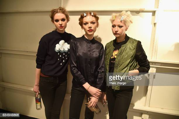Models pose backstage for the Leanne Marshall collection during New York Fashion Week The Shows at Gallery 2 Skylight Clarkson Sq on February 12 2017...