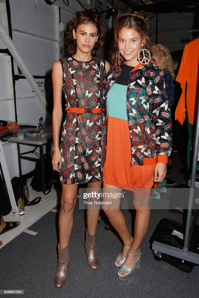 Models pose backstage for the Marcel Ostertag fashion show during New York Fashion Week: The Shows at Gallery 3, Skylight Clarkson Sq on September 13, 2017 in New York City.