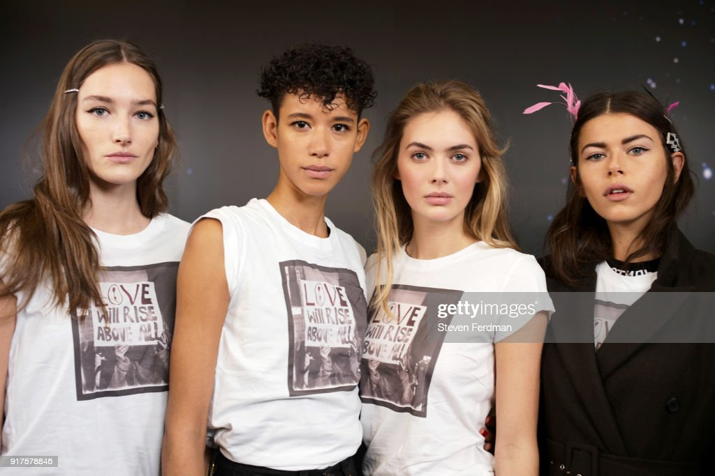 Models pose backstage for the Zadig & Voltaire fashion show during New York Fashion Week at Cedar Lake Studios on February 12, 2018 in New York City.