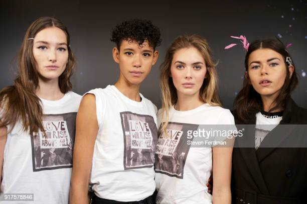 Models pose backstage for the Zadig Voltaire fashion show during New York Fashion Week at Cedar Lake Studios on February 12 2018 in New York City
