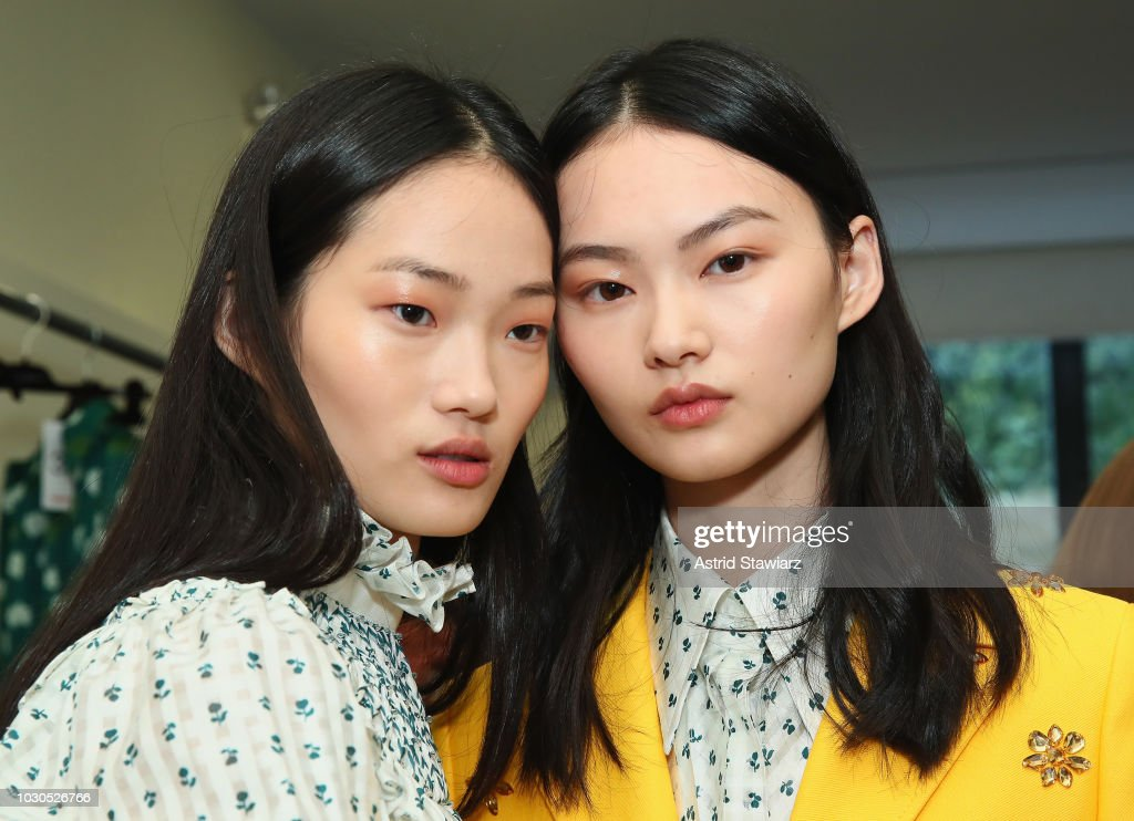 Models pose backstage for TRESemme At Carolina Herrera during New York Fashion Week on September 10, 2018 in New York City.