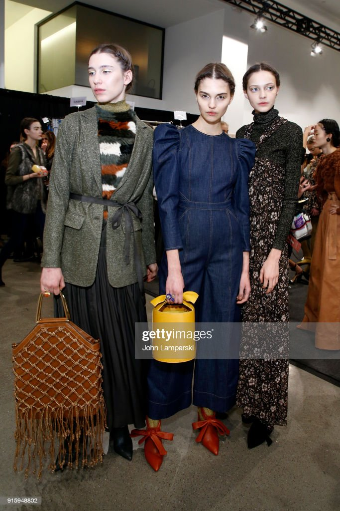 Models pose backstage for Ulla Johnson during New York Fashion Week: The Shows at Gallery II at Spring Studios on February 8, 2018 in New York City.