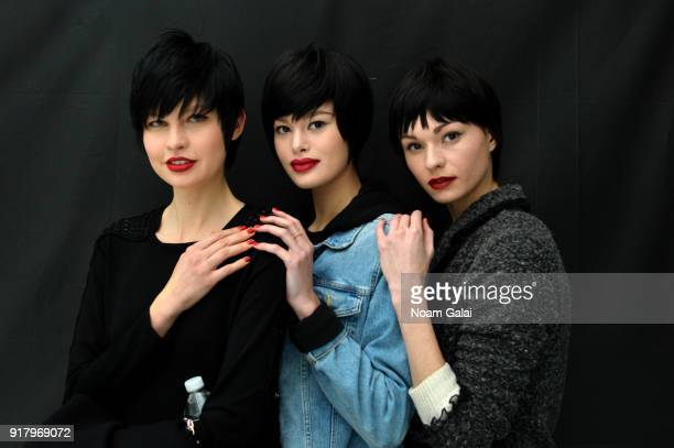 Models pose backstage for Zang Toi during New York Fashion Week The Shows at Pier 59 on February 13 2018 in New York City