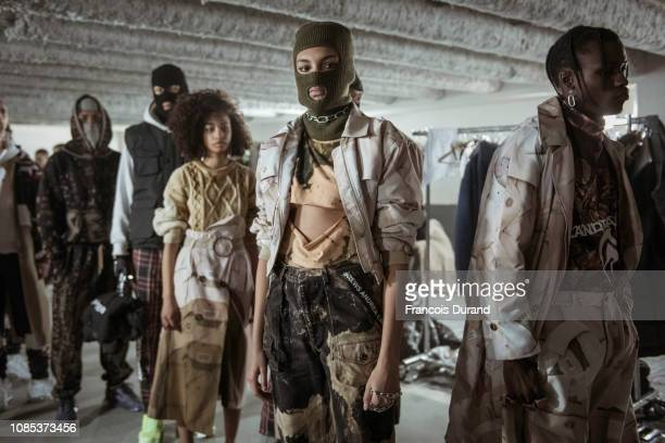 Models pose Backstage prior the Andrea Crews Menswear Fall/Winter 20192020 show as part of Paris Fashion Week on January 18 2019 in Paris France