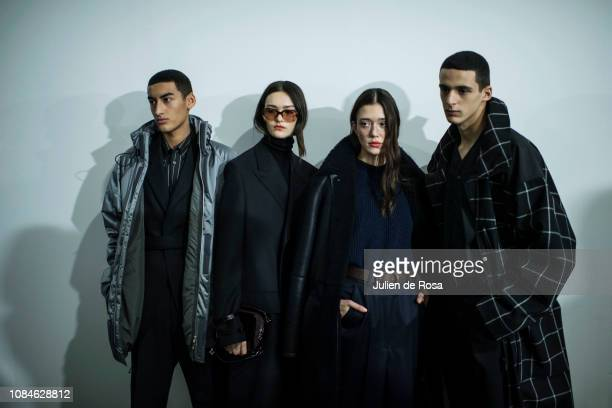 Models pose Backstage prior the Cerruti 1881 Menswear Fall/Winter 20192020 show as part of Paris Fashion Week on January 18 2019 in Paris France