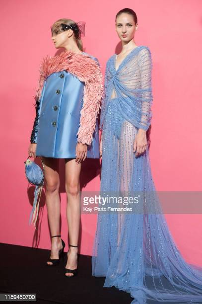 Models pose backstage prior the Georges Hobeika Haute Couture Fall/Winter 2019 2020 show as part of Paris Fashion Week on July 01 2019 in Paris France