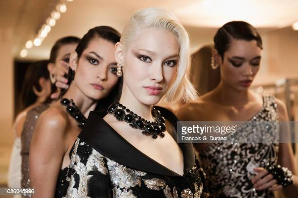 Models pose backstage prior the Georges Hobeika Spring Summer 2019 show as part of Paris Fashion Week on January 21 2019 in Paris France