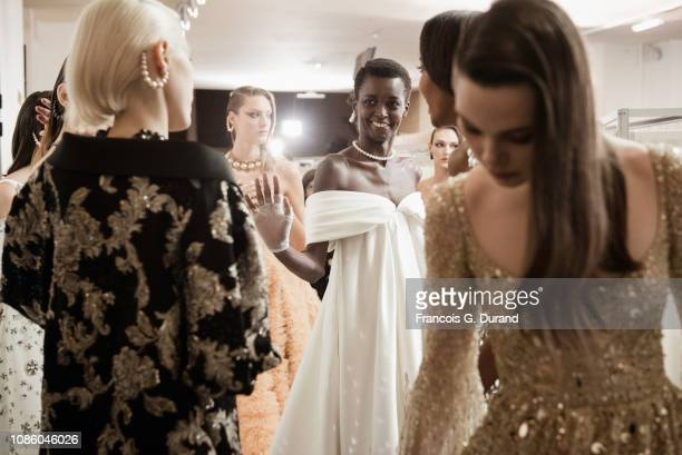 Models pose backstage prior the Georges Hobeika Spring Summer 2019 show as part of Paris Fashion Week on January 21, 2019 in Paris, France.