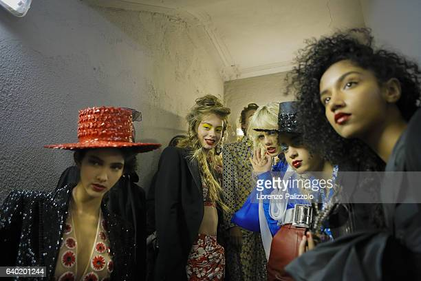 Models pose Backstage prior the Jean Paul Gaultier Fashion Week on January 25, 2017 in Paris, France.