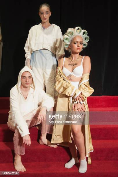 Models pose backstage prior the Pigalle Paris Menswear Spring Summer 2019 show as part of Paris Fashion Week on June 21 2018 in Paris France