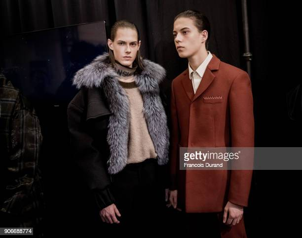 Models pose Backstage prior the Sean Suen Menswear Fall/Winter 20182019 show as part of Paris Fashion Week on January 18 2018 in Paris France