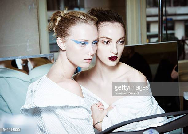 Models pose Backstage prior to the Atelier Versace Haute Couture Fall/Winter 20162017 show as part of Paris Fashion Week on July 3 2016 in Paris...