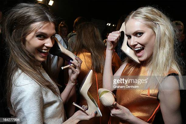 Models pose backstage prior to the L'Oreal Paris Runway 5 show during day five of L'Oreal Melbourne Fashion Festival on March 22 2013 in Melbourne...