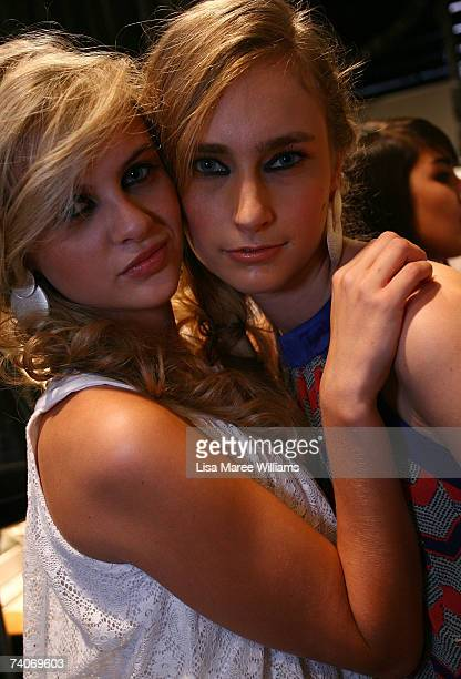 Models pose backstage prior to the New Generation show on day five of Rosemount Australian Fashion Week Spring/Summer 2007/08 at the Cargo Hall in...