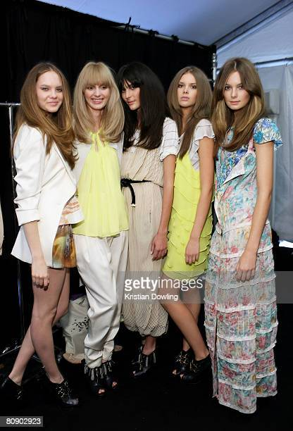 Models pose backstage prior to the Zimmermann show on the second day of Rosemount Australian Fashion Week Spring/Summer 2008/09 Collections at the...