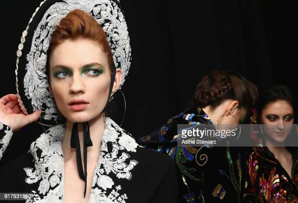 Models pose backstage TRESemme At Naeem Khan NYFW AW18 on February 13 2018 in New York City