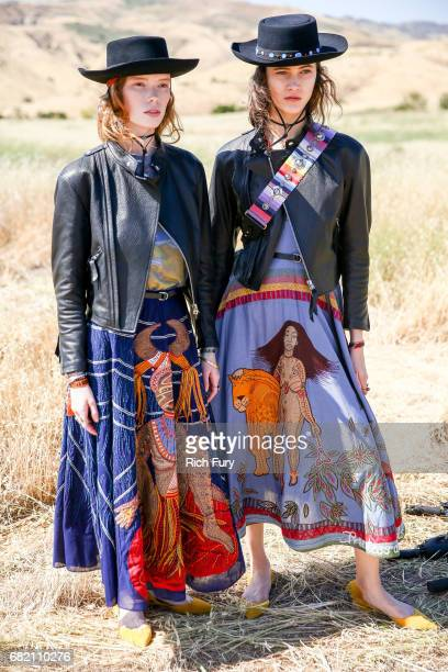 Models pose before the Christian Dior Cruise 2018 Runway Show at the Upper Las Virgenes Canyon Open Space Preserve on May 11 2017 in Santa Monica...