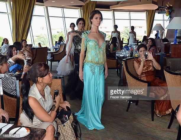 Models pose during Aruba In Style 2012 Wedding Champagne Brunch with Samuel Cirnansck at Windows on Aruba at Divi Links Golf Beach Resort on November...