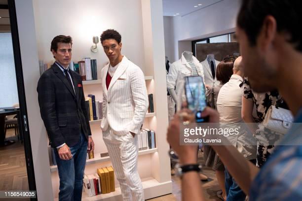 Models pose during Brunello Cucinelli Presentation Milan Men's Fashion Week Spring/Summer 2020 on June 15 2019 in Milan Italy