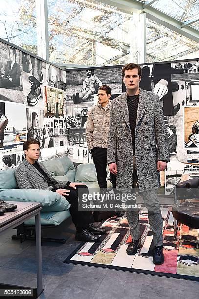 Models pose during during Tod's presentation as part of Milan Men's Fashion Week FW16 on January 17, 2016 in Milan, Italy.