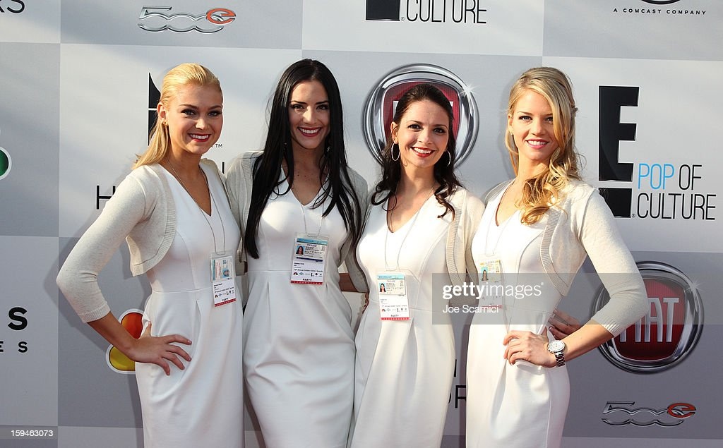 Models pose during Fiat's Into The Green at the 70th Annual Golden Globe Awards held at The Beverly Hilton Hotel on January 13, 2013 in Beverly Hills, California.