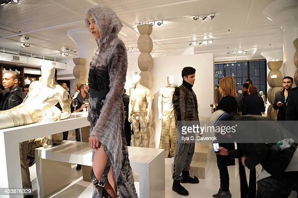 Models pose during Goldsmith Mannequins Chelsea Man Collection Launch Party on December 5 2013 in New York City