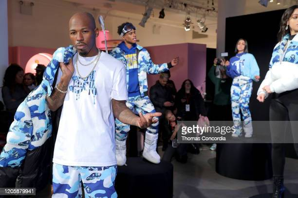 Models pose during Klarna STYLE360 Hosts Andy Hilfiger Presents Artistix By Greg Polisseni Presentation/See Shop on February 12 2020 in New York City