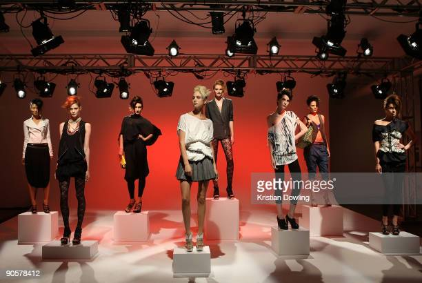 Models pose during LAMB presentation of spring 2010 fashions at the Milk Studios during MercedesBenz Fashion Week at Bryant Park on September 10 2009...
