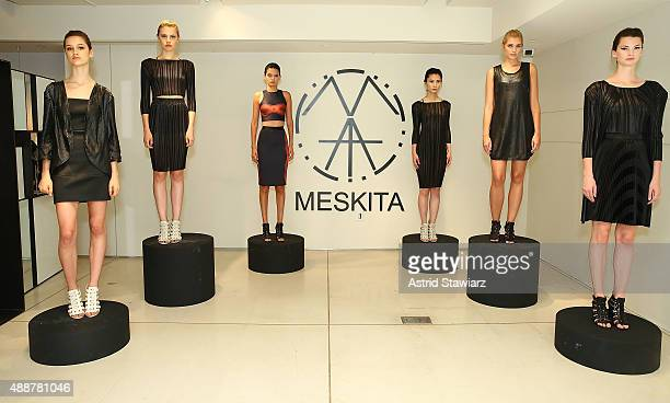 Models pose during Meskita - Presentaion - Spring 2016 New York Fashion Week on September 17, 2015 in New York City.